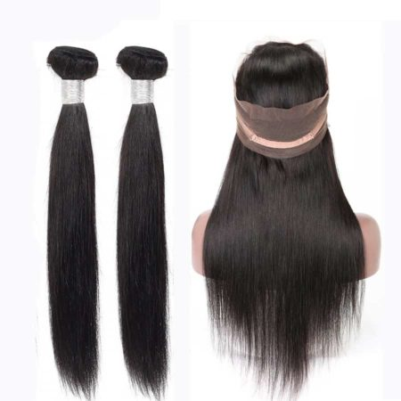 peruvian straight 2 bundles with 360 frontal