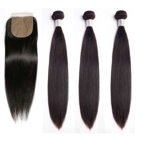 peruvian straight 3 bundles with silk base closure