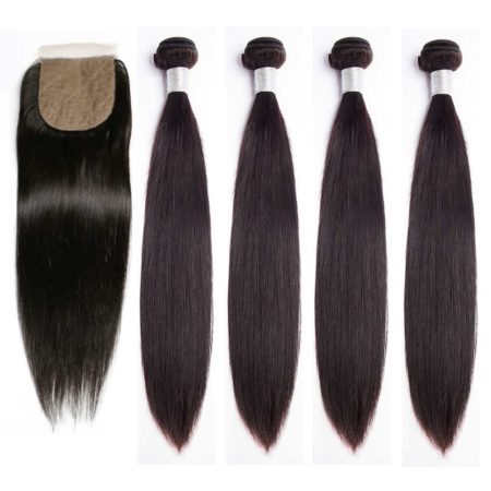 peruvian straight 4 bundles with silk base closure