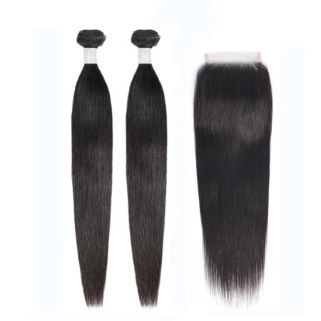 peruvian straight hair 2 bundles with closure