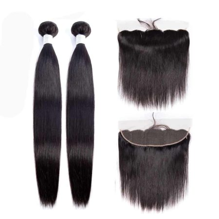 peruvian straight hair 2 bundles with frontal