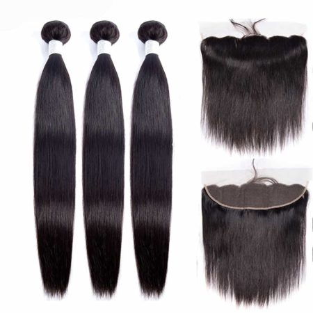 peruvian straight hair 3 bundles with frontal