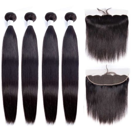 peruvian straight hair 4 bundles with frontal