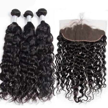 peruvian wet and wavy hair 3 bundles with frontal2